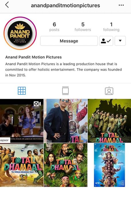 We are now on Instagram. Follow us at @anandpanditmotionpictures.