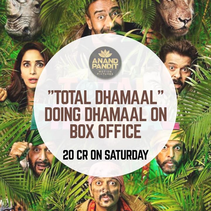 "And the ""Dhamaal"" continues... huge opening of #TotalDhamaal at the box office! . . #TotalDhamaal #AnandPandit #AnandPanditMotionPictures Ajay Devgn Anil S Kapoor Madhuri Dixit - Nene #ArshadWarsi #JavedJaffery #BomanIrani Riteish Deshmukh #IndraKumar"