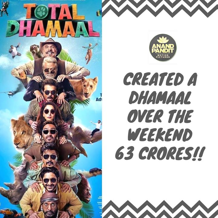 What a stellar weekend for total Dhamaal! Inspite of the match yesterday, the film has had a fabulous opening weekend. Looks like we have our next superhit of this year! . . #TotalDhamaal #AnandPandit #AnandPanditMotionPictures Ajay Devgn Anil S Kapoor Madhuri Dixit - Nene Arshad Warsi #JavedJaffery Boman Irani Riteish Deshmukh Indra Kumar