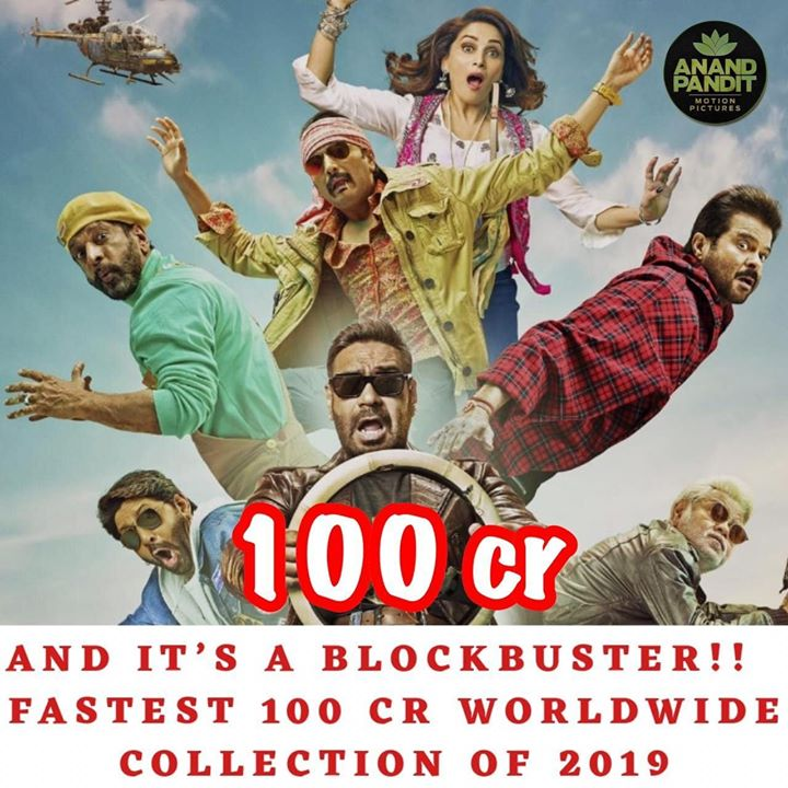 #TotalDhamaal now enters the 100 Cr club!! Thank you for all the love and making this movie a Super Hit. . . #TotalDhamaal #AnandPandit #AnandPanditMotionPictures Ajay Devgn Anil S Kapoor Madhuri Dixit - Nene Arshad Warsi Javed Jaaferi Boman Irani Riteish Deshmukh Indra Kumar