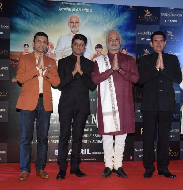 Team #PMNarendraModi at the trailer launch of the movie earlier this evening 😊   Anand Pandit #SandipSsingh Vivek Anand Oberoi #OmungKumar #ModiTheFilm