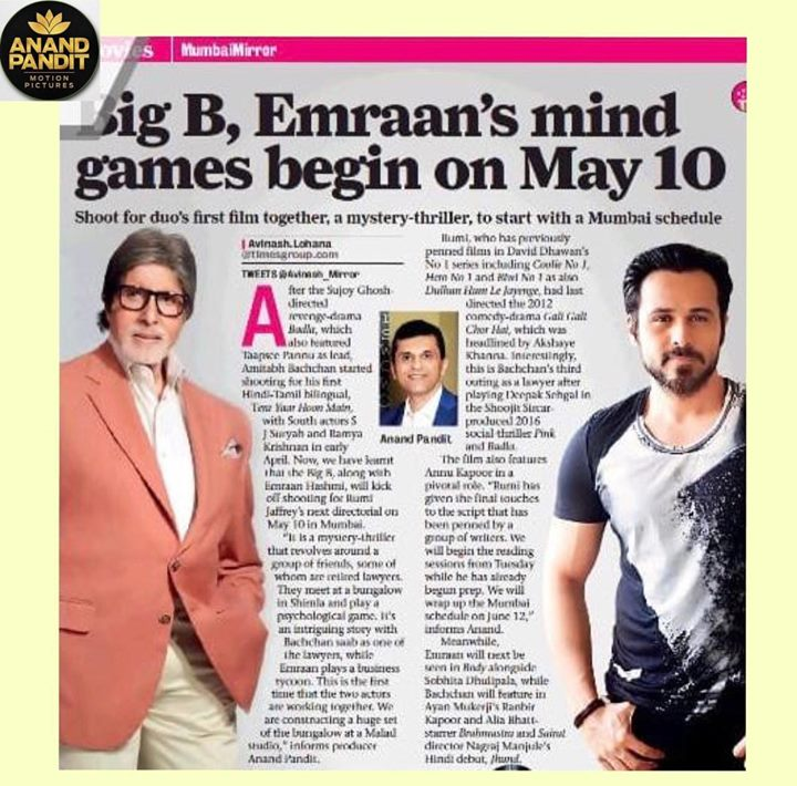 We, at Anand Pandit Motion Picutres, are elated as our next film begins rolling! With Amitabh Bachchan, Emran Hashami sharing the same screen, this one will be one to watch out for! #NewBeginnings #AnandPanditMotionPictures  Amitabh Bachchan Emraan Hashmi