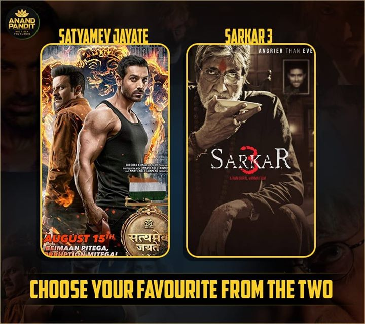Which movie is your favourite?  #Bollywood #BollywoodMovie #Sarkar3 #SatyamevJayate #AnandPanditMotionPictures  John Abraham Manoj Bajpayee Amitabh Bachchan