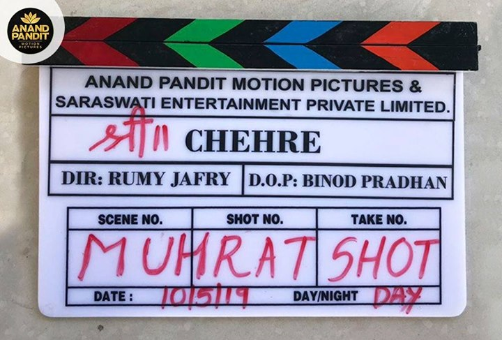 Thrilled to announce that our next project, #Chehre, starring Amitabh Bachchan and Emraan Hashmi, directed by #RumiJaffrey, and produced by #AnandPandit, goes on floors today!  #AnnuKapoor Rhea Chakraborty Kriti Kharbanda Siddhanth Kapoor #RaghubirYadav