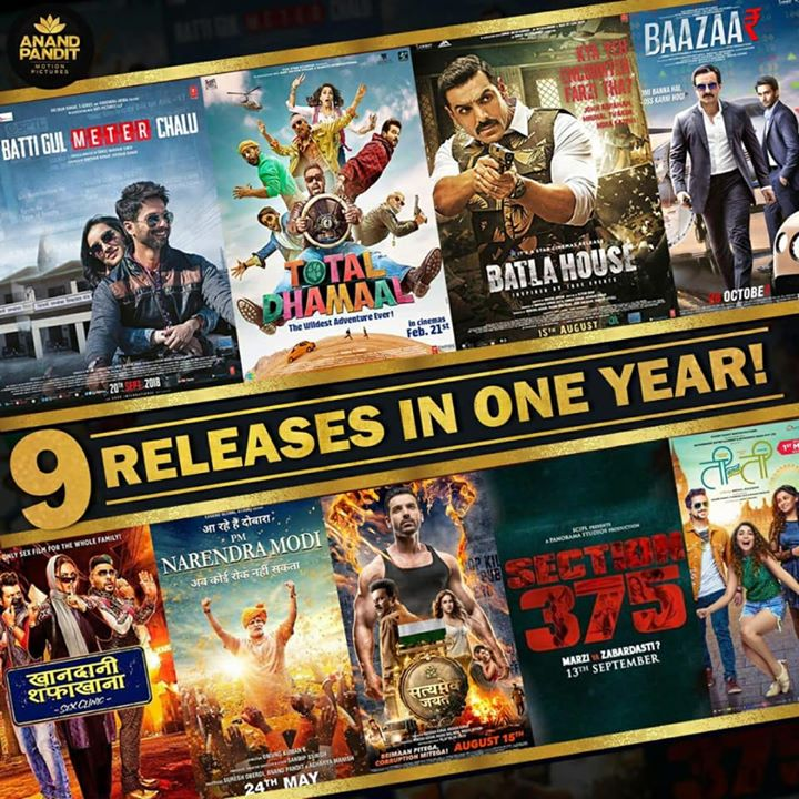 9 Different Films, 9 Different Genres but one vision!  Anand Pandit Motion Pictures is proud to have presented unparalleled entertainment to our viewers across the globe!  We shall keep entertaining, while you keep watching and supporting in this journey, one which is only complete with all of you who love entertainment as much as we do at Anand Pandit Motion Pictures! . #APMP #AnandPanditMotionPictures