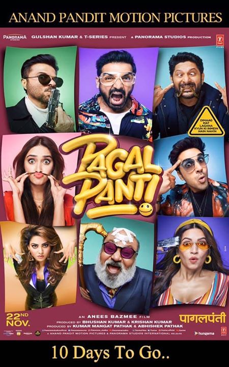 The mad fun journey of #Pagalpanti begins.. Releasing in just 10 days!!!! . .  Anil S Kapoor John Abraham #ArshadWarsi Pulkitsamrat Panchram Vyas Kritikharbanda  Anand Pandit T-Series