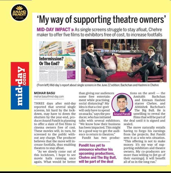 Anand Pandit stands by the theatre owners in this time of crisis! . . . #AnandPandit #AnandPanditMotionPictures #APMP #Midday #NewsCoverage