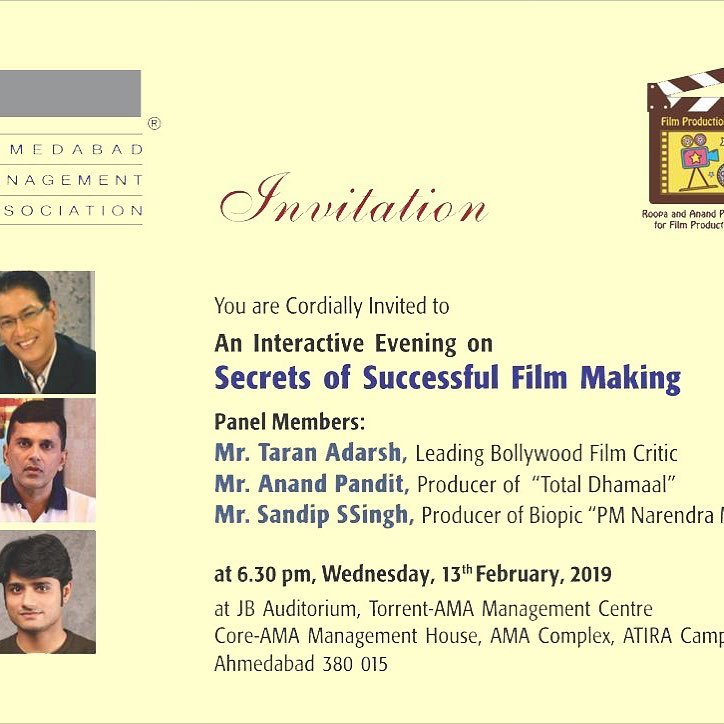 Roopa &Anand Pandit AMA centre for film production management have organised this interactive session today. Anyone interested, welcome !!!