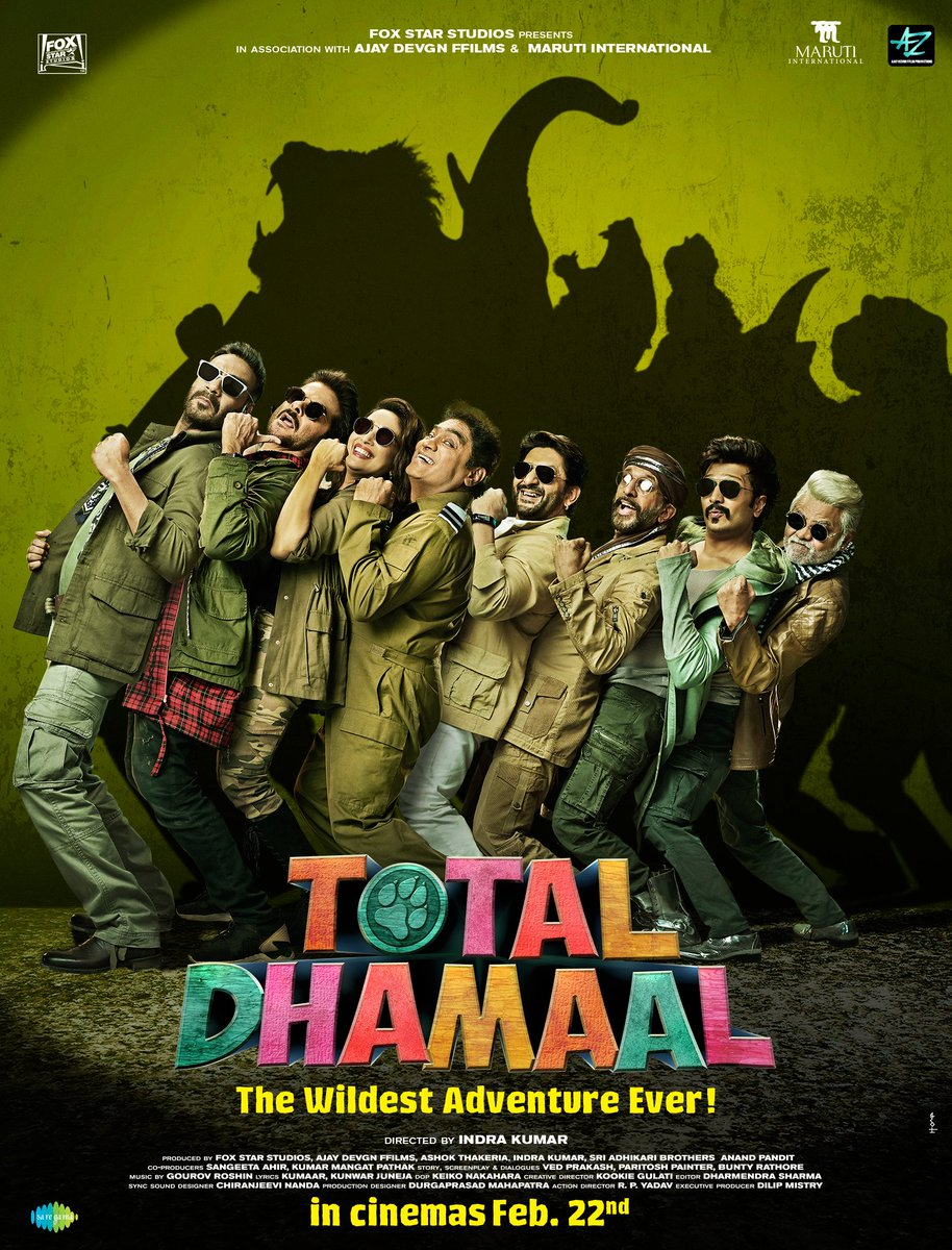 RT @ajaydevgn: Aaj se hoga sirf #TotalDhamaal. Gear up for The Wildest Adventure Ever!! Trailer out on 21st Jan. https://t.co/R4S4rOzJIG