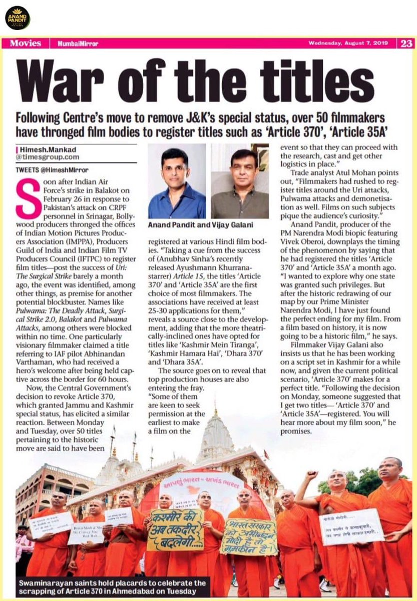 The journey as a producer as we merge Indian Politics with Entertainment....Taking History and making Historic Films that shall create History! #Producer #PoliticalFilms #APMP @apmpictures @MumbaiMirror https://t.co/Ope24ZHYk4