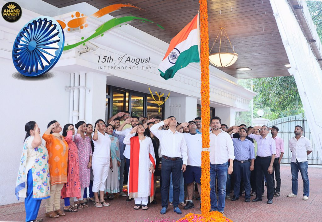 Annual Flag Hosting at Anand Pandit Motion Pictures as we salute to our Mother land, to our country, to India! #JaiHind #HappyIndependenceDay #IndependenceDay2019 @apmpictures https://t.co/68xzc5K7JP