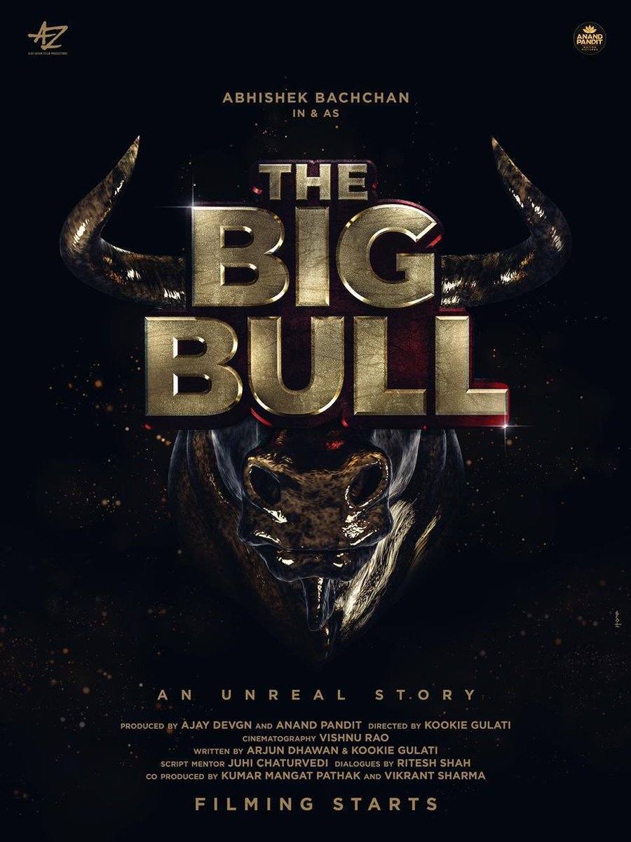 We,at Anand Pandit Motion Pictures, are excited to announce our upcoming film The Big Bull! This one shall leave a mark for our Indian cinema lovers! A team like none other,its our pleasure to be working with @juniorbachchan @ajaydevgn @KumarMangat @kookievgulati  #TheBigBull 🎬 https://t.co/jv92Ybogiz