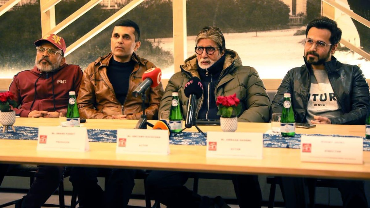 It has been an absolute honor to have shared the stage and table with my very talented actors and the team from our upcoming movie #Chehre at a Press Conference at Slovakia. The wait isn't too long, Chehre to be unveiled in the Summer of 2020! #ComingSoon https://t.co/tE6NUSM27d