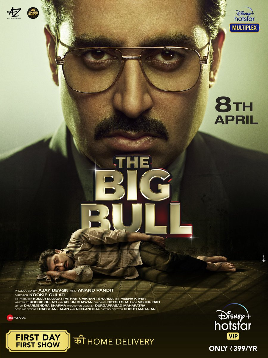 Tomorrow at 7:30 pm, witness the RISE & FALL of THE BIG BULL!  #TheBigBull, streaming tomorrow only on @DisneyplusHSVIP.  #DisneyPlusHotstarMultiplex #MotherOfAllScams  @juniorbachchan @Ileana_Official @nikifyinglife @s0humshah @kookievgulati @ajaydevgn @anandpandit63 https://t.co/pP72K5GFS1