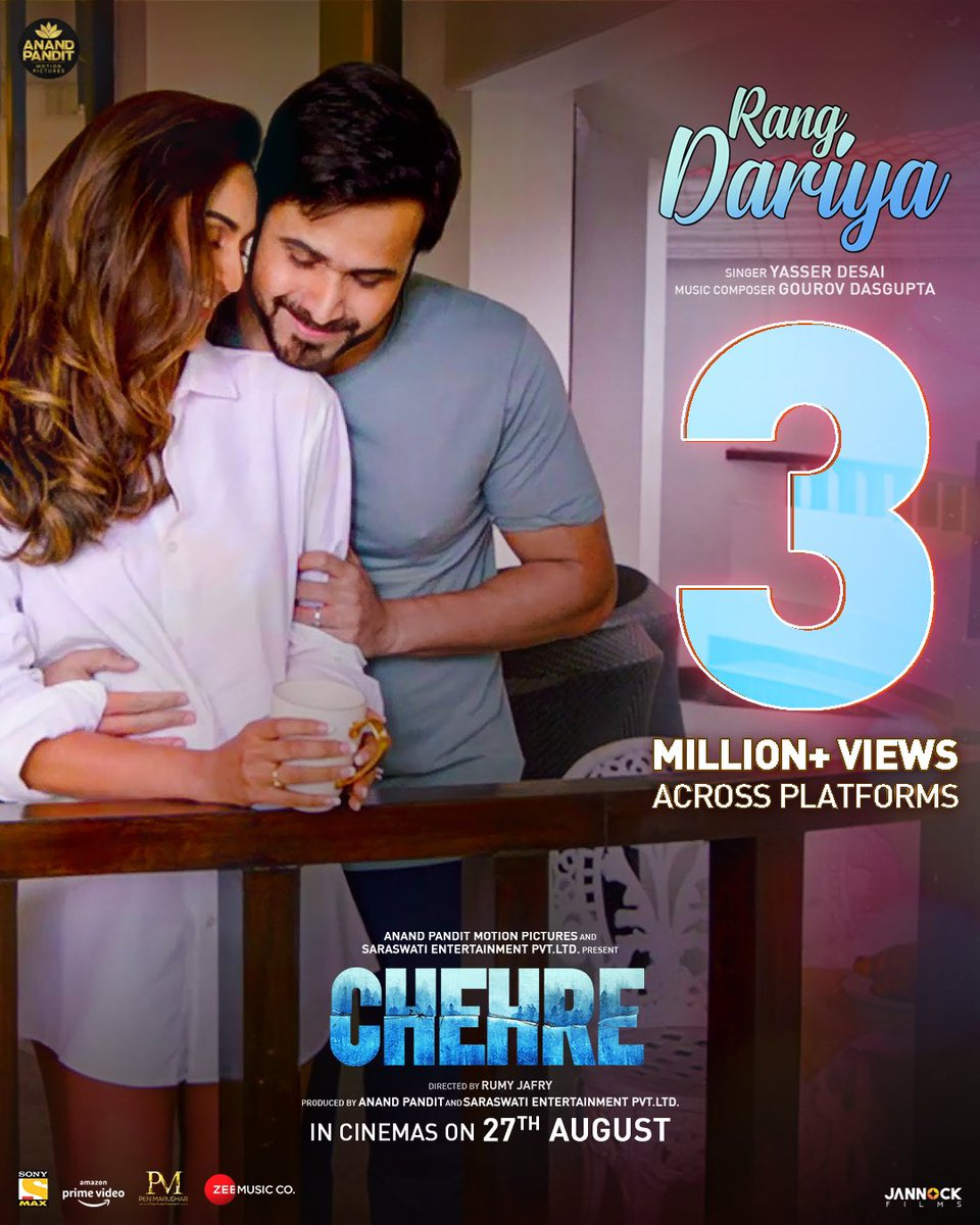 #RangDariya's dreamy tunes have etched into 3 Million hearts forever! 💕 Song out now: https://t.co/xaKsqGuNzv  Watch #Chehre in cinemas on 27th August. #FaceTheGame  @SrBachchan @emraanhashmi #RumyJafry @annukapoor_ https://t.co/ApiNaaWAPU