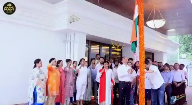 A glimpse of this year's Flag Hosting At Anand Pandit Motion Pictures! #VandeMataram #JaiHind @apmpictures #HappyIndependenceDay https://t.co/3Yey16uSQc